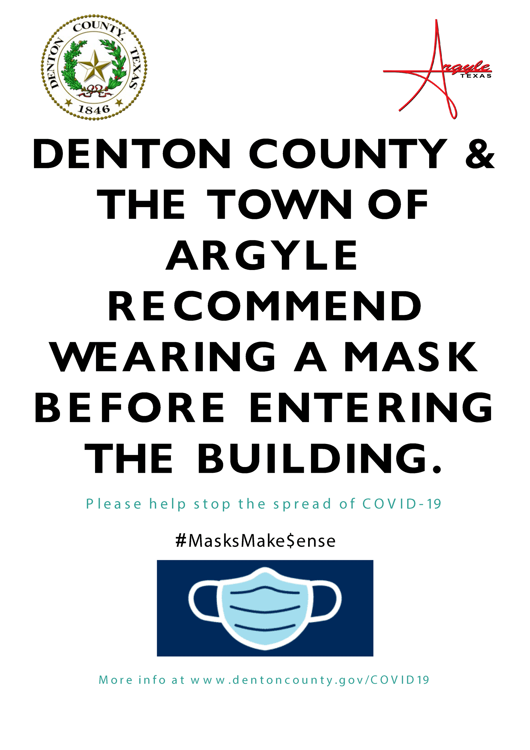 Denton County  City Wear Mask Sign  070120 Opens in new window