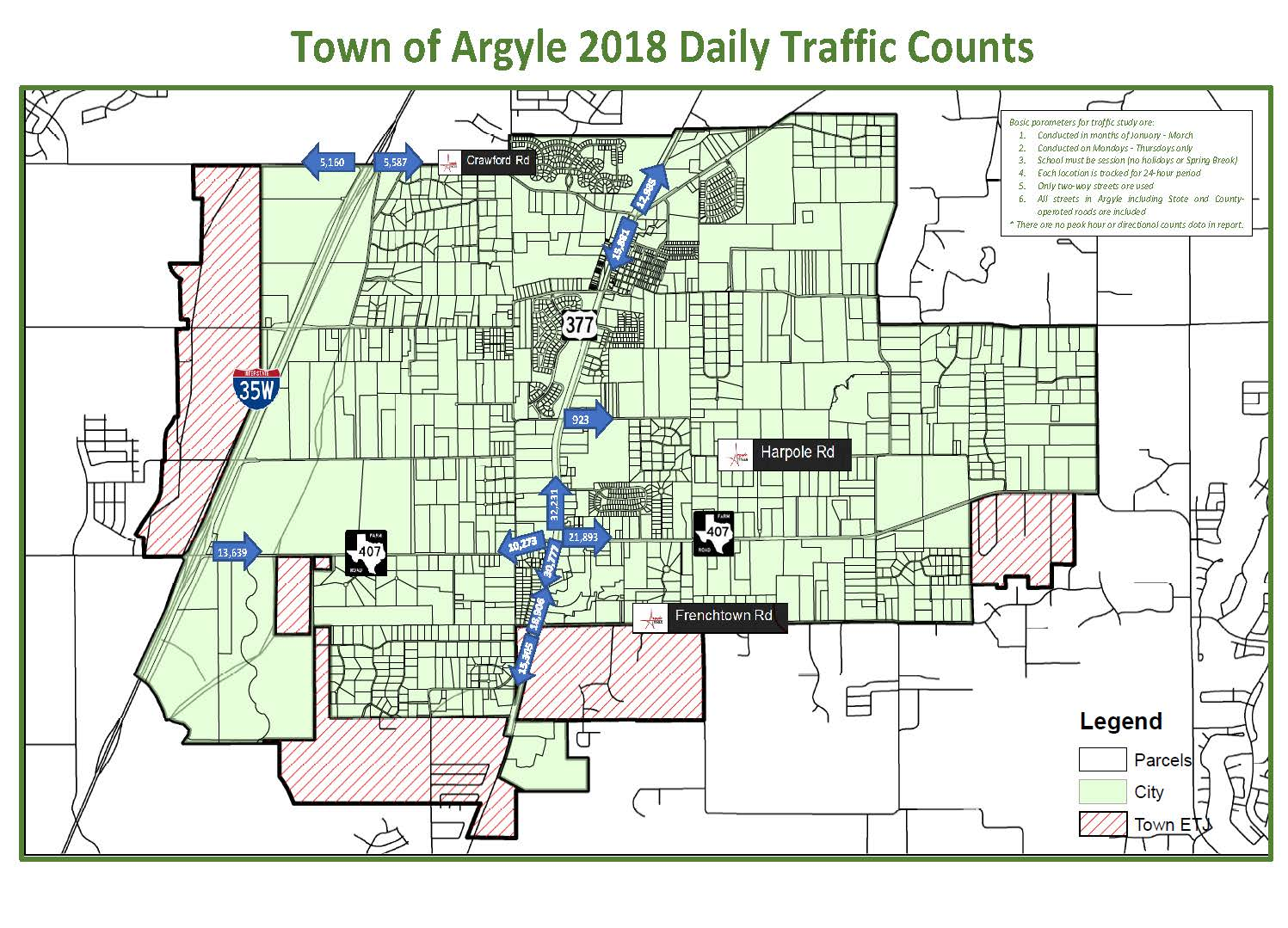 Argyle Traffic Counts Map 8-29-18 Opens in new window